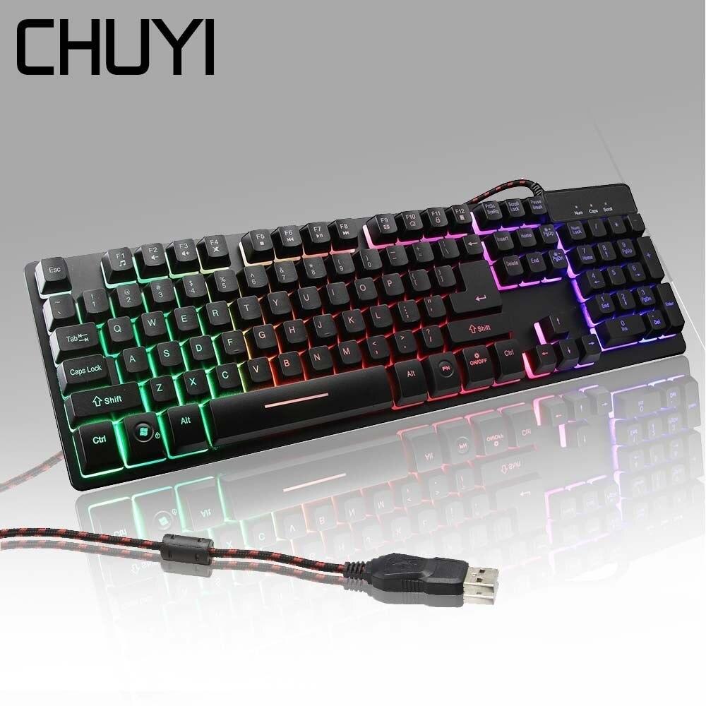 Clavier tactile de rétroéclairage mécanique de jeu de CHUYI clés USB Wired104 véritables rvb LED clavier de Gamer en métal Anti-fantôme pour overwatch