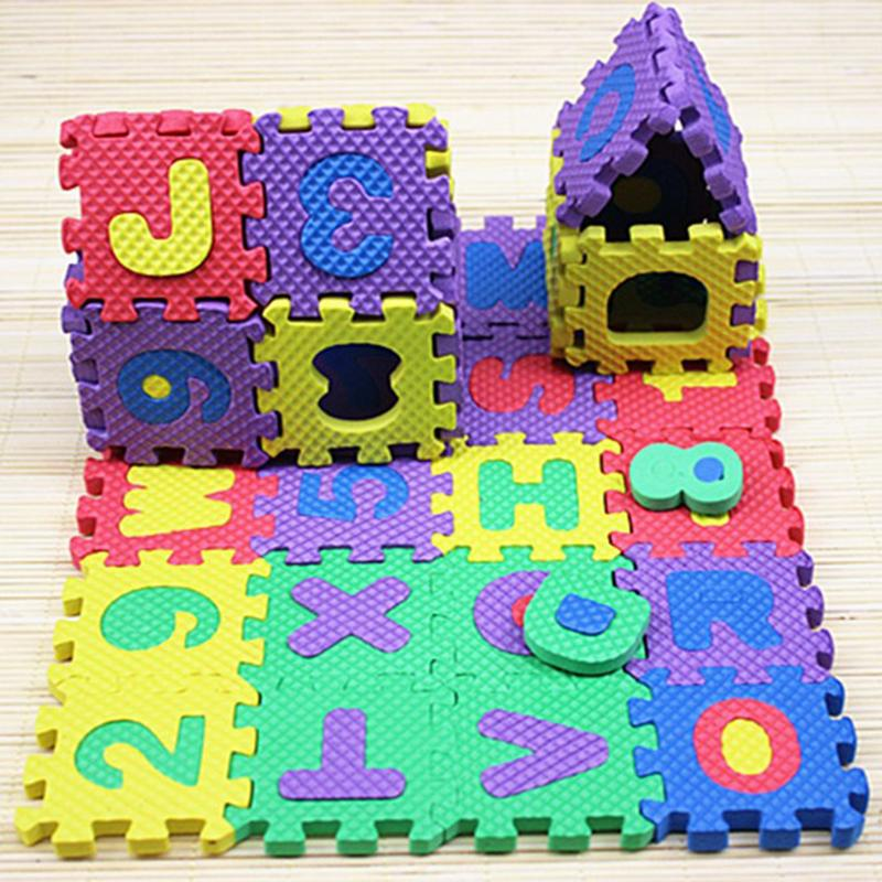 36PCS Letter Toy Foam Baby Puzzle Mat Baby Crawling Mats Floor Children's Cartoon Alphanumeric Baby Puzzle Alfabet 6*6cm