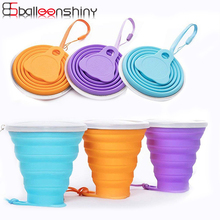 BalleenShiny 270ML Folding 1pc Water Cup with Cover Silicone Colorful Portable Beverage Organizer Travel Climb Sports Cups