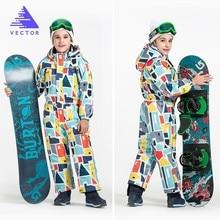 ベクトル暖かい子供スキーフード付きスーツスノーボード全体合成雪の冬の屋外防水防風少年少女スキー服