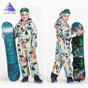 Image 1 - ベクトル暖かい子供スキーフード付きスーツスノーボード全体合成雪の冬の屋外防水防風少年少女スキー服