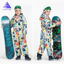 Vector Warm Kids Ski Hooded Suit Snowboard Overall Synthetic Snow Winter Outdoor Waterproof Windproof Boy Girls Skiing Clothes