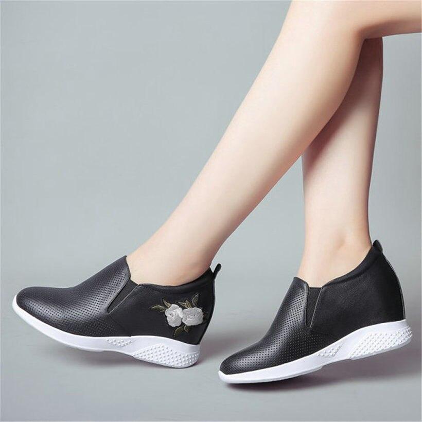 White2 Cuero Casual white1 black2 Zapatillas Cuña De Transpirable Moda Tacón Zapatos Botas Platformsummer black1 Mujer Vaca x1Uwwp7Sq