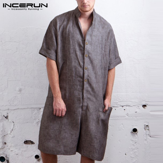 c85898f4323d Vintage Men Rompers Pants Half Sleeve Cotton Pockets Playsuit Loose Men  Cargo Overalls Jumpsuit Casual Trousers