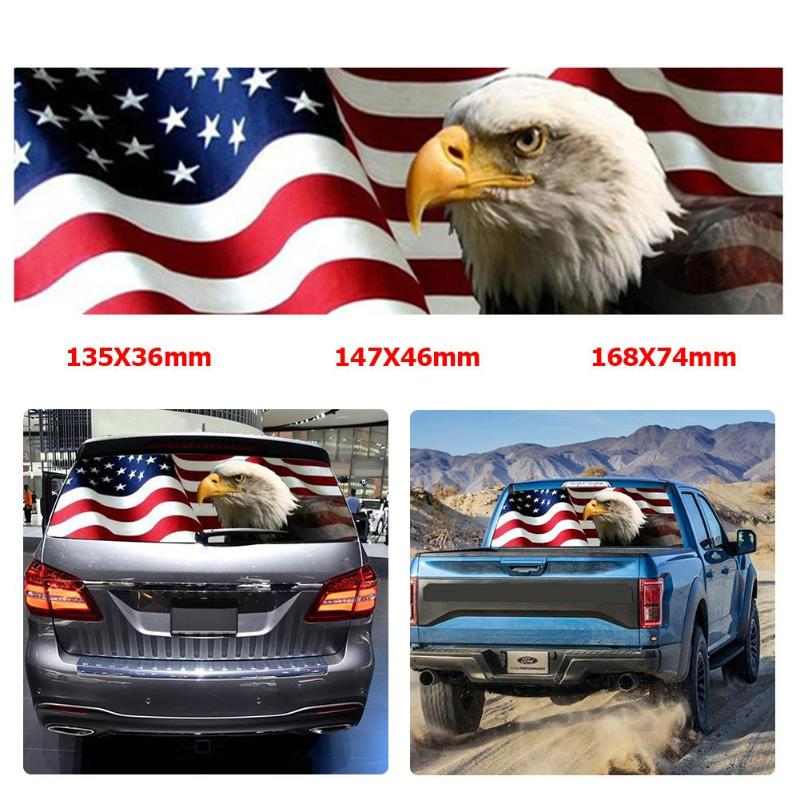 """65/"""" x 22/"""" American Flag Eagle Rear Window Tint Graphic Decal Wrap Back Tailgate"""