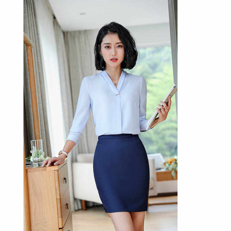 女性のフォーマルなスーツブレザー + エレガントなスカート 2 個スーツオフィス制服デザインキャリア作業服女性の服セット