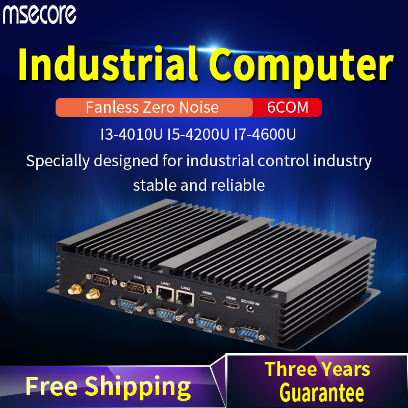 MSECORE 4TH Gen I3 I5 I7 Fanless Mini PC Windows 10 Industrial Computer Linux Nettop Barebone 6COM 2*LAN 8*USB HTPC 300M WiFi