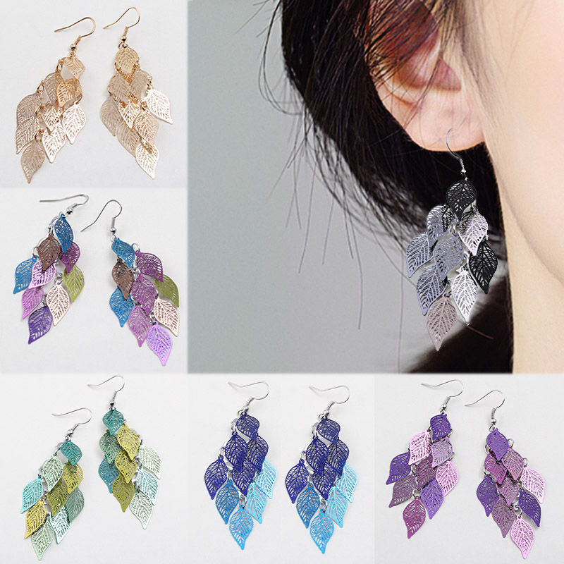 Hot Sale Drop Earring Candy Color Tassel 7 Colors 1Pair Colours Long Wedding Valentines Gift Hollow Leaves Seaside Bohemian