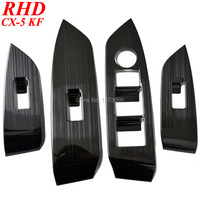 For RHD Mazda CX 5 CX 5 CX5 KF 2nd 2017 2018 Stainless Window Control Panel Glass Lift Switch Frame Cover Trim Car Accessories