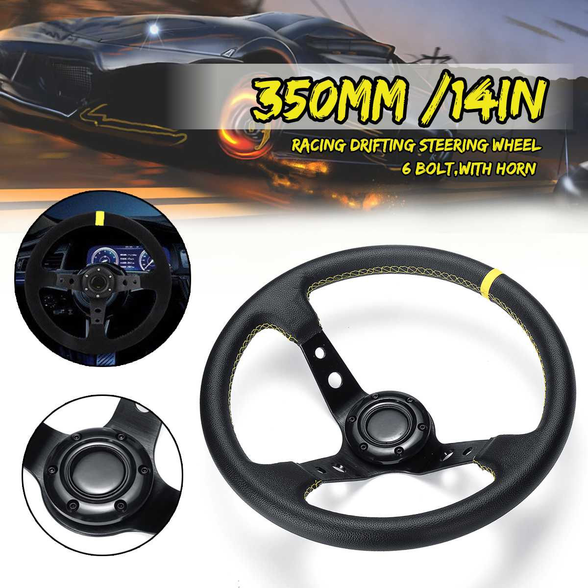 14inch 350mm Deep Dish Drifting Steering Wheel Kit Universal Leather Aluminum Car Auto Racing Sport Steering Wheel Accessories