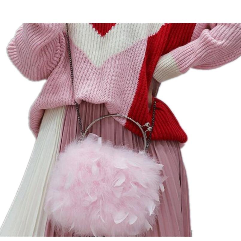 Real fur miss bag ladies women shoulder handbags Real ostrich feather bag luxury handbag female black red gray  B11