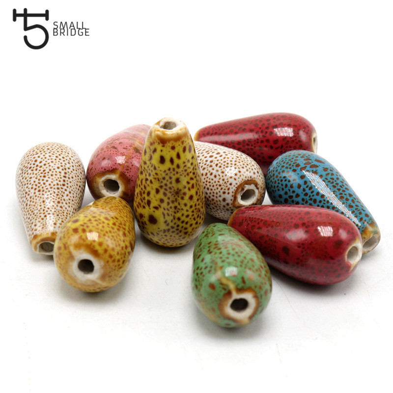 25mm Teardrop Porcelain Beads For Jewelry Earrings Making Women Diy Perles Red Flower Glaze Ceramic Beads Wholesale U701