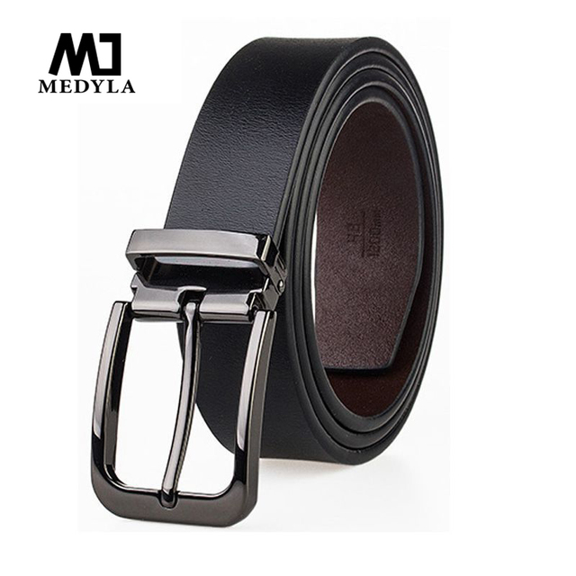 MEDYLA męski skórzany pasek na garnitur starszy metalowa szpilka klamra biznes brązowy klasyczny pas dla mężczyzn 3.2cm pas męski prezent Dropship