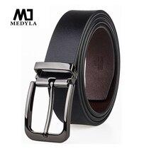 Medyla cinto de couro masculino para terno de metal sênior pino fivela negócios marrom clássico cinto para homem 3.2cm cinto masculino presente dropship
