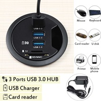Universal In Desk 3 Port USB 3.0 HUB Adapter Charger with SD Card Reader PC Accessories Mount for Tablet/Smart Phones USB Hubs