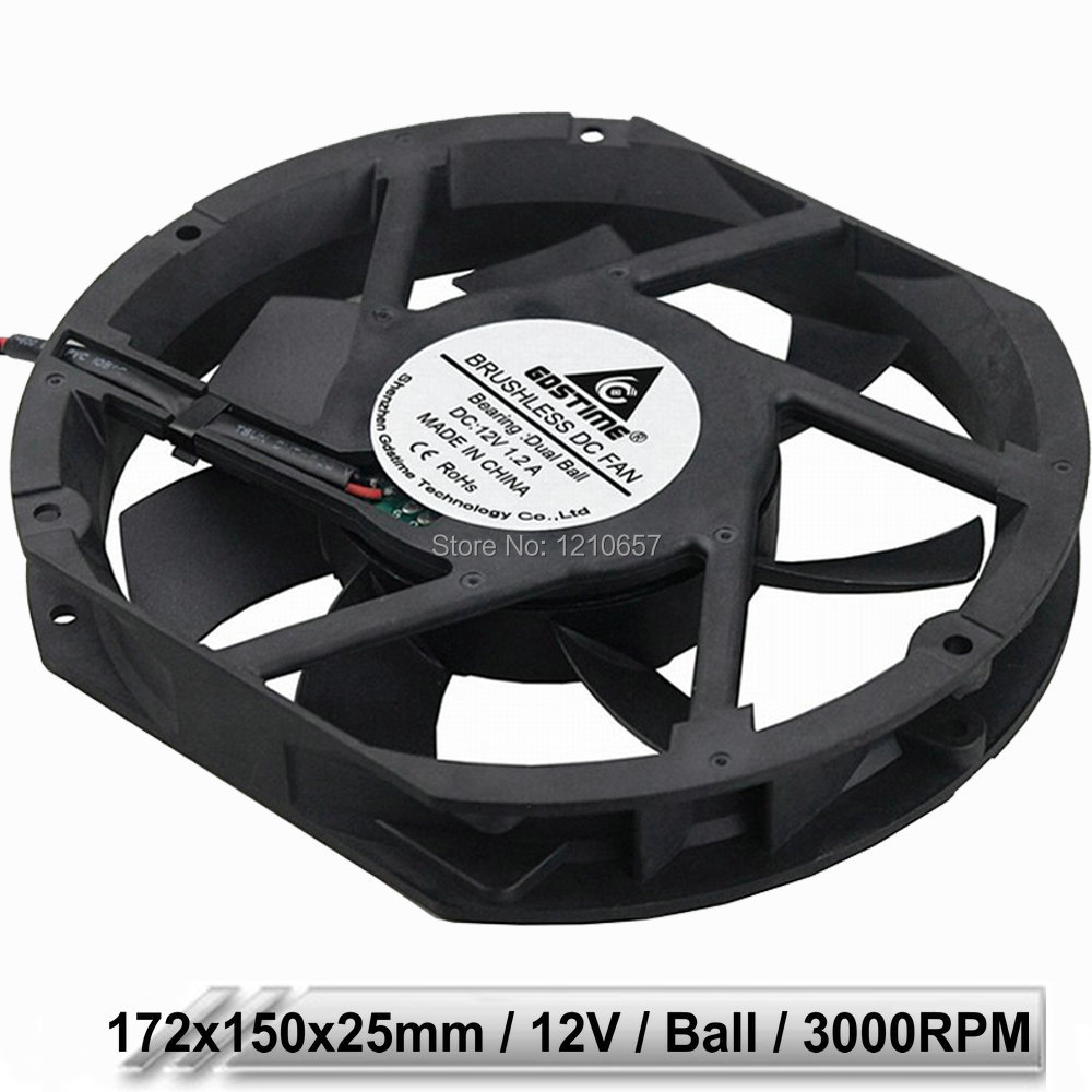 5 Pieces Gdstime DC 12V 202.5CFM Ball Bearing 17cm 17225 172x150x25mm Cabinet Cooling Fan 172mm