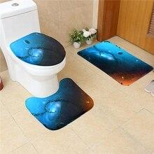 3 Pcs Bathroom Bath Mats Set Starry Sky Painting Anti Slip Room Carpets Home Toilet Lid Cover Floor Durable Washable