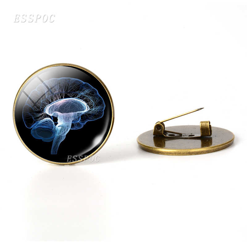 Detak Jantung Tanda Bros Kaca Cabochon Dome Perhiasan Anatomi Jantung Perunggu Bros Pin Tas Wanita Pria Dokter Halloween Hadiah