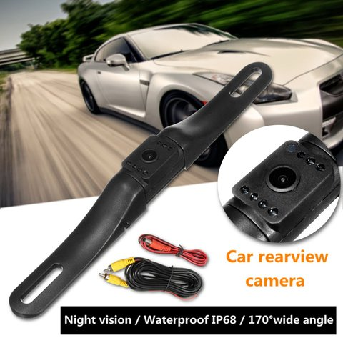 170 Degrees Auto Car Rear View Reverse Backup Parking Camera License Plate Cameras Night Vision Waterproof 7 LED Pakistan