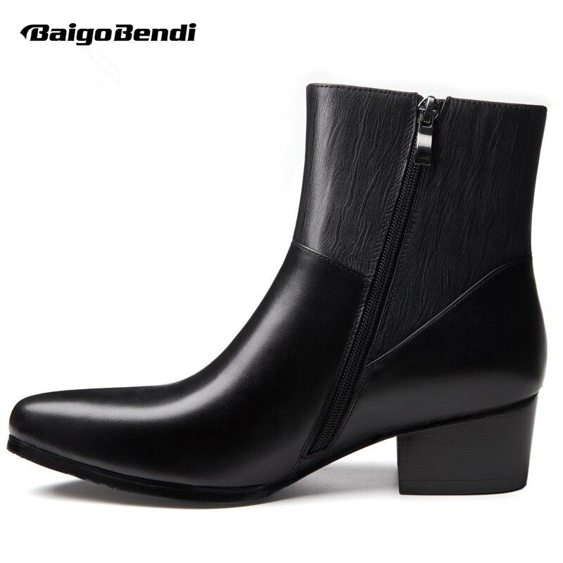 44 Grueso Del Black Hombres Tacón black Piel Eur Botas Invierno Aumentar Cuero Puntiagudo Zapatos Fur Tobillo Alto Los 37 De Pie Tamaño Dedo qfFZwtfx