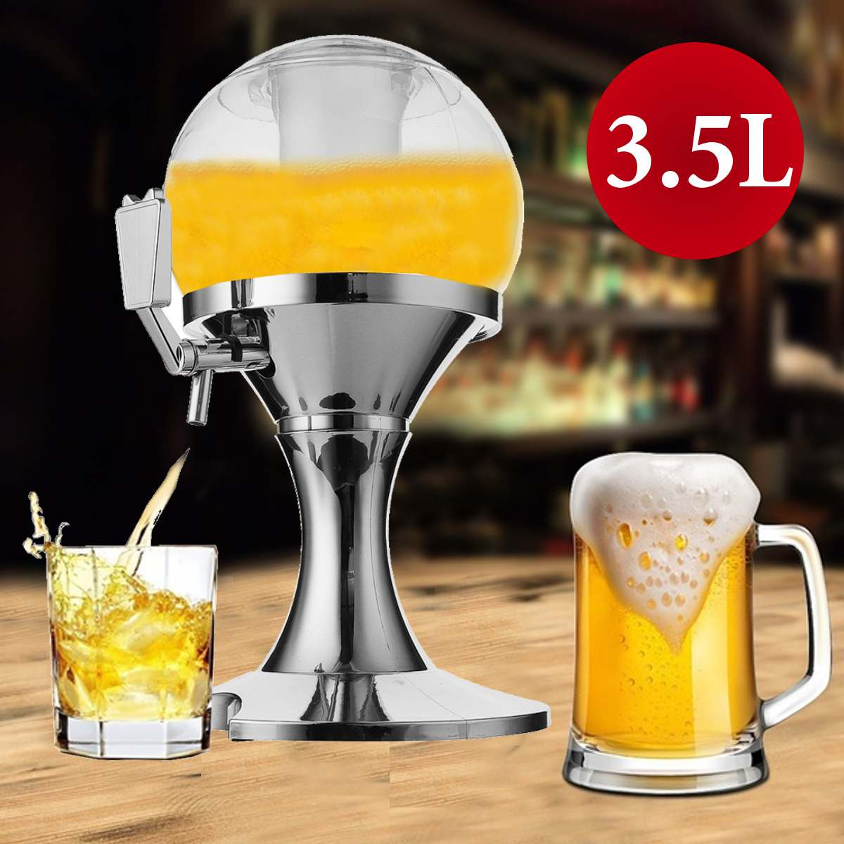 3.5L Beer Container Dispenser Pourer Bar Beverage Beer Wine Tower Machine Ice Core Container Bar Tool