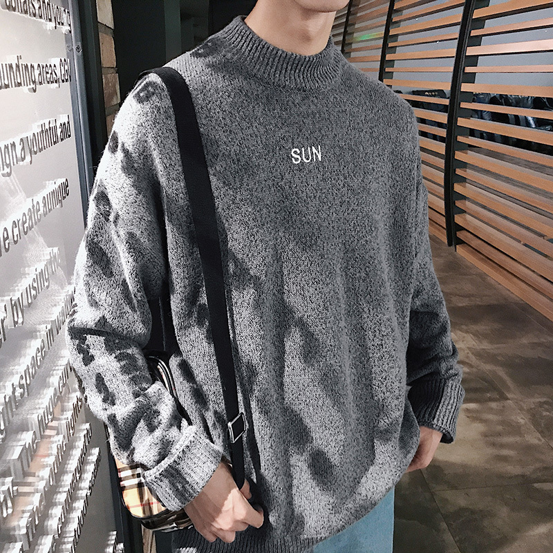 Spring New Sweater Male Youth Korean Version Of The Round Neck Student Embroidery Sweater Trend Autumn Sweater Free shipping in Pullovers from Men 39 s Clothing