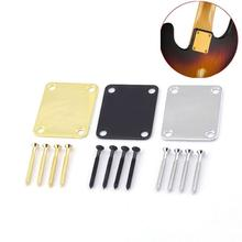 Electric Guitar Bass Metal steel Alloy Neck Plate with 4 Screws Replacement Part for ST Fender Guitar Bass Accessories