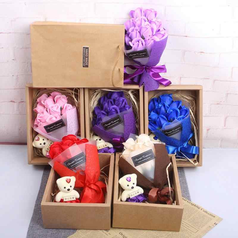 7pcs Scented Handmade Bath Soap Rose Flower With Cute Bear And Gift Box For Wedding Valentines