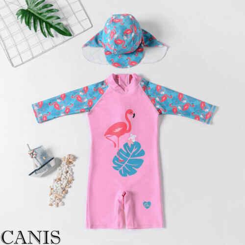 Новинка; летняя одежда для маленьких мальчиков и девочек с изображением фламинго; милый детский купальник с рисунком; купальник