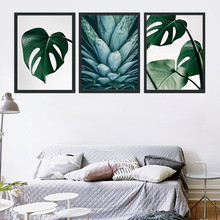 Wall Art Print Canvas Painting Fresh Green Big Leaves Nordic Posters And Prints Tropical Plants Pictures For Living Room