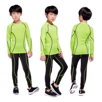 Dzieci komplet rashguard 2 sztuka dres dla dzieci do biegania odzież treningowa kompresji dla dzieci bielizna termiczna warstwa podstawowa tanie i dobre opinie Chłopcy Pasuje prawda na wymiar weź swój normalny rozmiar Poliester Sprężone Pełna Geometryczne O-neck 1001-#1 jujuland