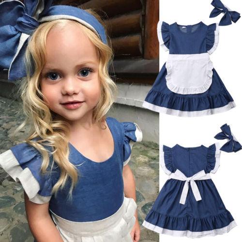 100% Kwaliteit 2019 Nieuwe Mode 2-7years Casual Kids Baby Meisjes Outfits Kleding Crop T-shirt Tops Katoenen Schort Jurk