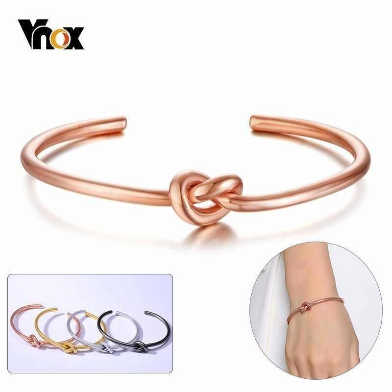 Vnox Chic Knot Bangle for Women 585 Rose Gold Tone Stainless Steel Vintage Simple Cuff Bracelet Trendy Classic Tie Pulseira