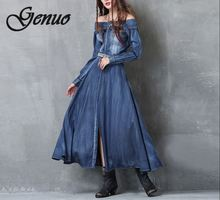 2019 S-L Women Denim Dress Women's Clothing Denim Jeans Dress Off-Shoulder Front Slit Maxi Vestido de Festa Vintage Sexy Wear button front denim slit dress