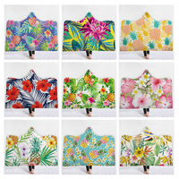 Hooded Blanket Home Furnish Thicken Tropic Botany Fruits Series Warm Wearable Fleece Throw Blankets Throw Blanket In Cap