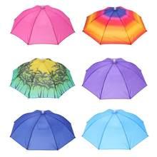 Portátil sombrero paraguas de sombra de sol Camping pesca senderismo Golf  Beach sombreros deportes al aire libre de manos libres. bf0ad437cfe