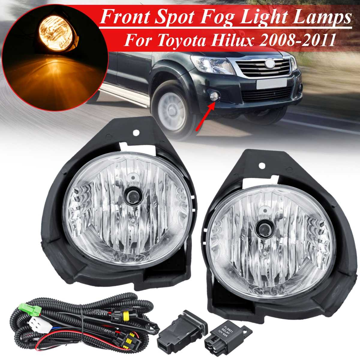 12V Fog Light For Toyota Hilux 2008 2009 2010 2011 Replacement 1 Pair Car Front Bumper lamp Kit With Harness Bulb Switch Styling12V Fog Light For Toyota Hilux 2008 2009 2010 2011 Replacement 1 Pair Car Front Bumper lamp Kit With Harness Bulb Switch Styling