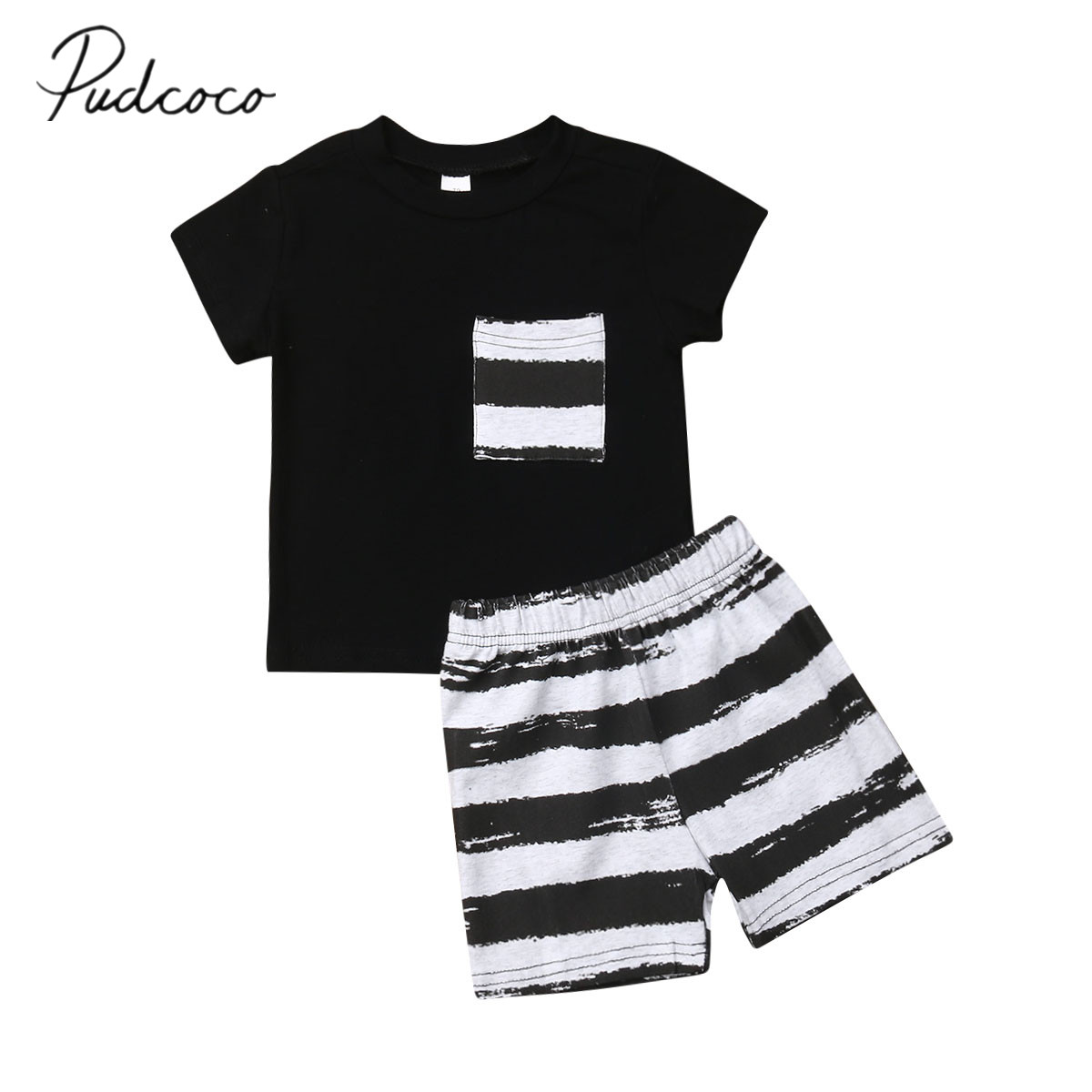 2019 Brand New Toddler Kid Baby Boys' Summer Clothes Pocket T-Shirt Tops+Short Pants Striped Casual Outfit Set Summer Clothing