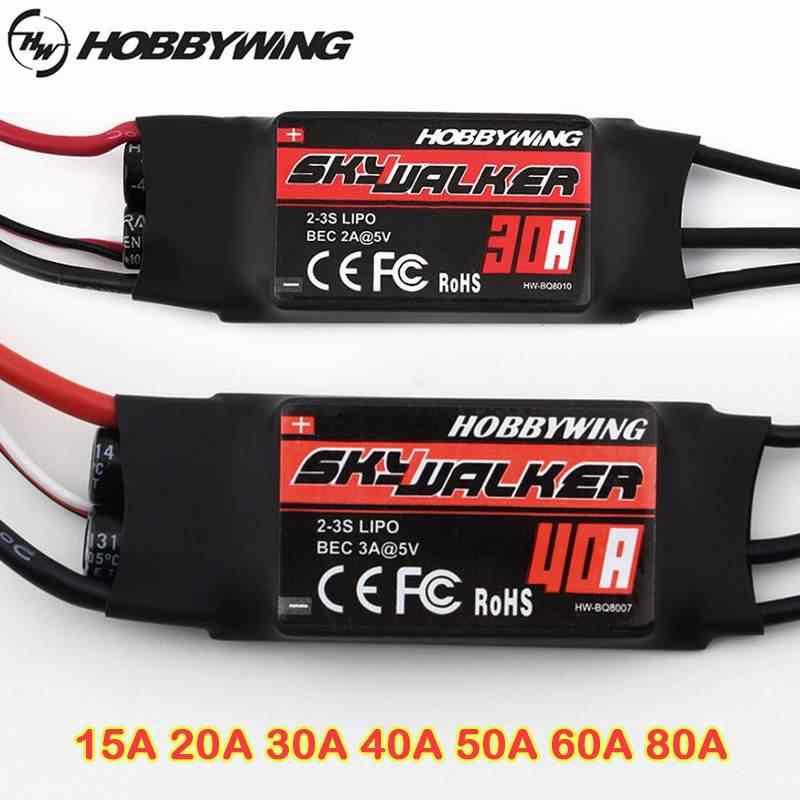 Hobbywing Skywalker 15A 20A 30A 40A 50A 60A 80A controlador de velocidad ESC sin escobillas W/UBEC para helicóptero de Avión RC FPV ACC