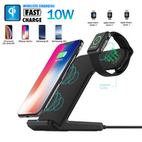 Mayround Fast Qi Wireless Charger Stand for iWatch iPhone XS Max Galaxy 2 in 1 Station Holder For LG Xiaomi Huawei Mate 20 Pro