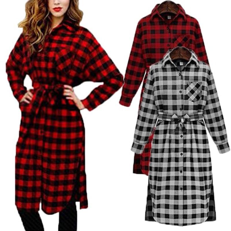 Celmia Női Vintage Check Plaid nyomtatott ing ruha 2018 tavaszi őszi hosszú ujjú hajtóka alkalmi laza térd hosszúságú flanel Vestido