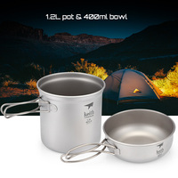 Keith Titanium Portable Pots Set 1.2L Bowl + 400ml Pot Bowl Foldable Handle BBQ Picnic Camping Hiking Cookware Outdoor Tableware