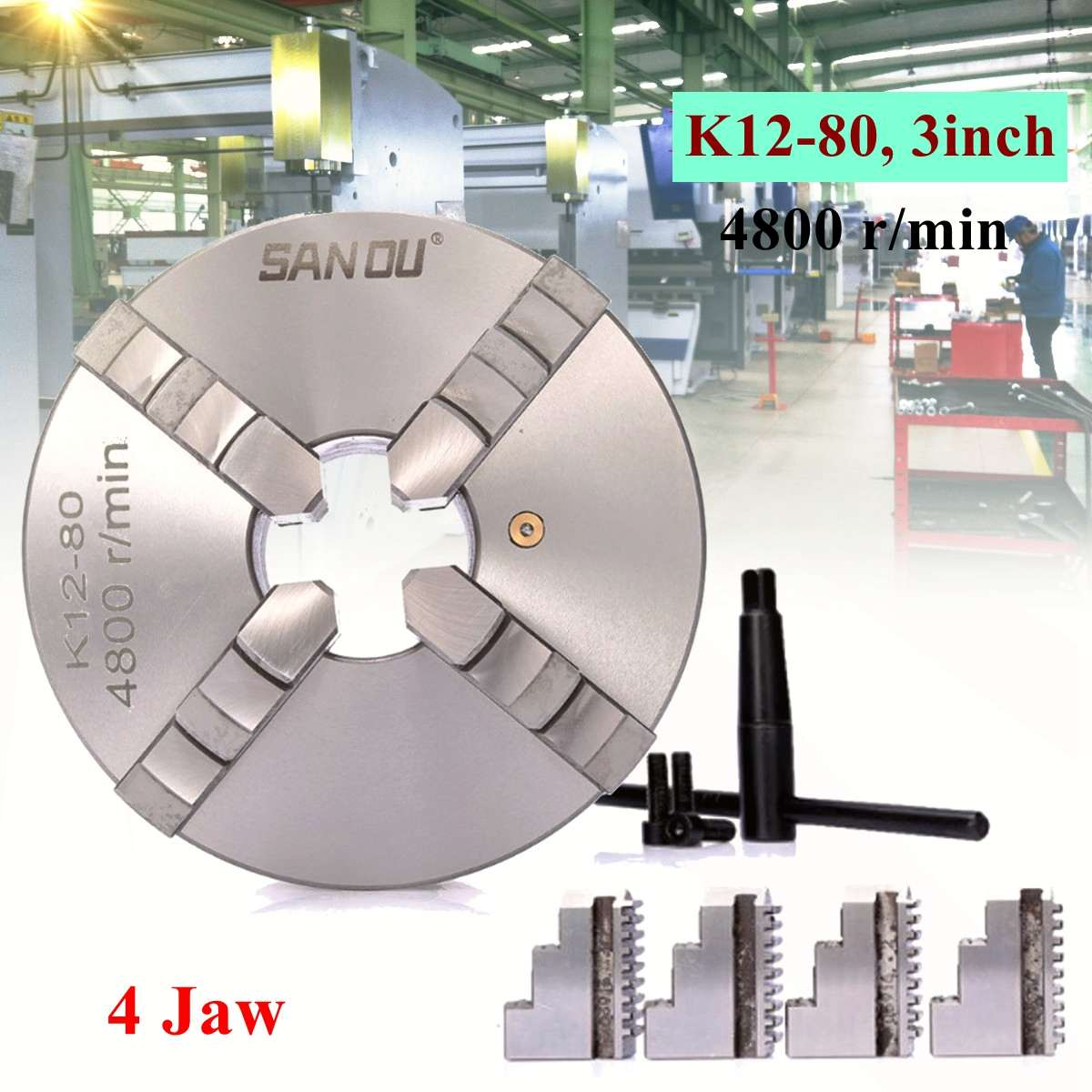4 Jaw K12-80 Lathe Chuck 3 Self Centering Hardened Steel Reversible Jaw 80mm Lathe Tools for Drilling Milling Machine4 Jaw K12-80 Lathe Chuck 3 Self Centering Hardened Steel Reversible Jaw 80mm Lathe Tools for Drilling Milling Machine