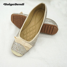 Fashion Sequined Cloth Ballet Flats Girls Soft Square Toe Light Weight Shoes Woman Casual Shinning