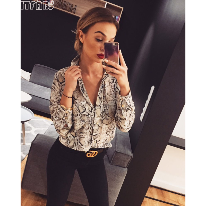 Women Summer Leopard Snake Long Sleeve Button V Neck T Shirt Casual Sexy Stylish Fashioin Tops jeans con blazer mujer