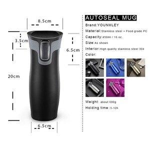 Image 2 - 450ml 16oz AUTOSEAL Taza de Viaje termo café taza de vacío de acero inoxidable tazas aisladas termo de agua botella de té termal tazas automáticas