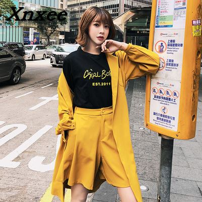 Women's set two pieces autumn blazer set suit elegant casual loose trench coat blazer +Wide leg short pants suits two pieces-in Women's Sets from Women's Clothing    1