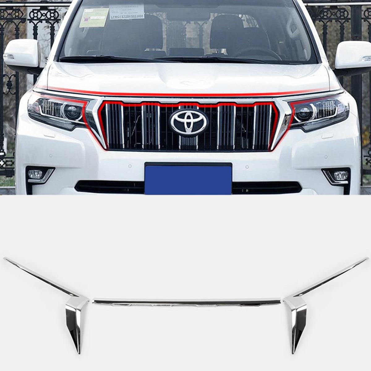 Chrome ABS avant Center maille phare sourcil garniture bande couverture pour Toyota Land Cruiser Prado 150 FJ150 2018 bas modèle