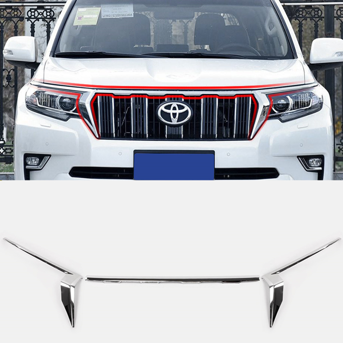 Chrome Front Grille Trim vent cover For Toyota Land Cruiser Prado FJ150 2018