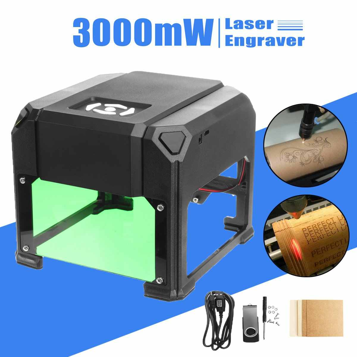 Mini USB 3000 mW CNC máquina de grabado láser 110V220V enrutador de madera de escritorio de grabador casero DIY/cortador/impresora para sistema operativo WIN/Mac
